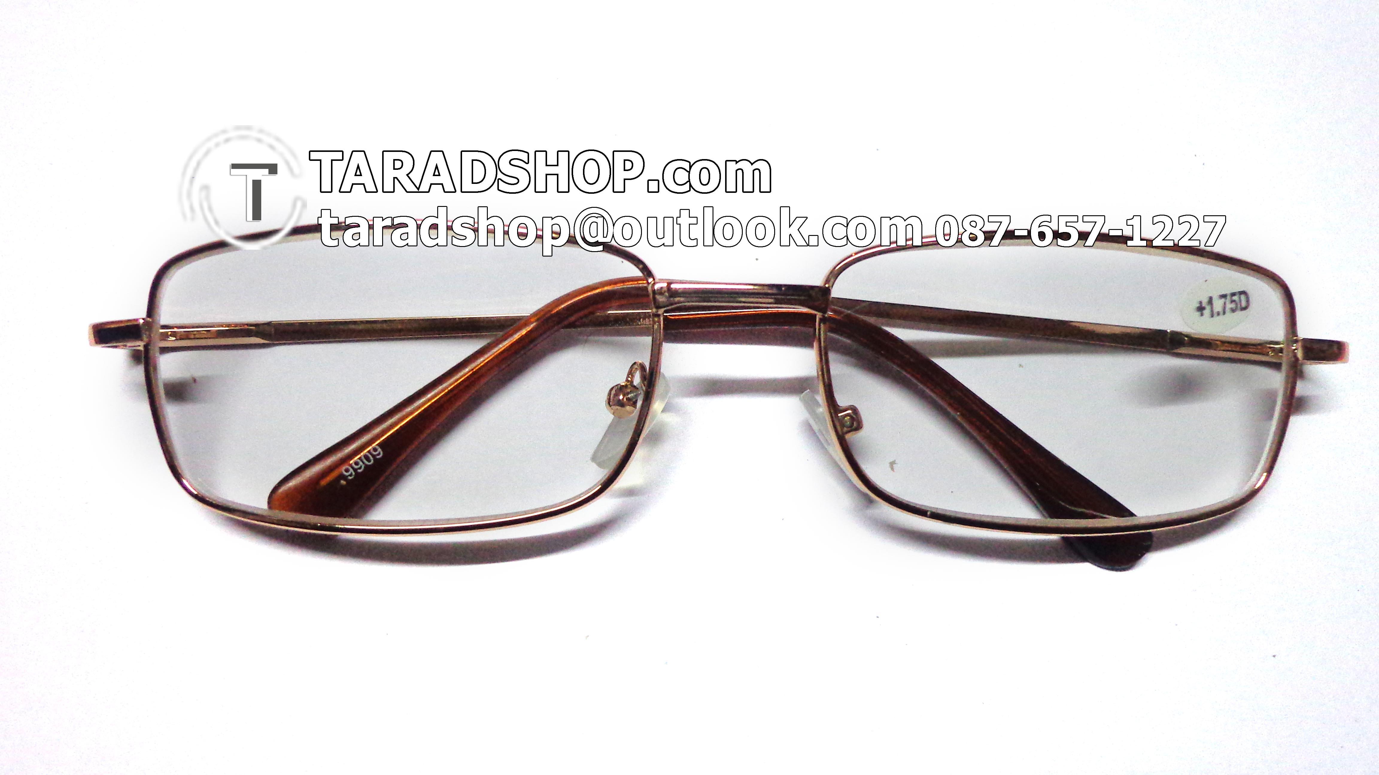 แว่นสายตา ยาว +1.75D ( สีเลนส์ กระจกใส ) สีกรอบ สีทองอ่อน ) ขา สแตนเลส )
