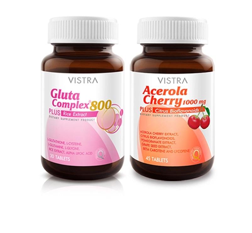 Vistra set บำรุงผิว 3 - Acerola cherry 45s + Gluta complex 800 30s