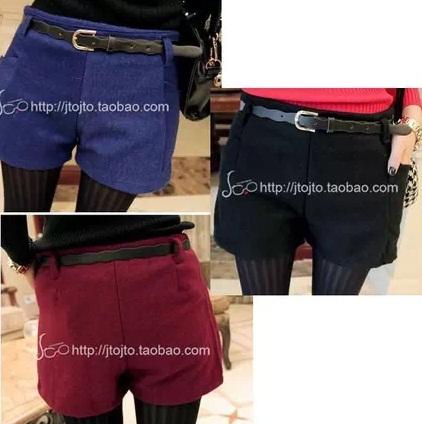 (SALE) กางเกงแฟชั่น ผ้าสำลี ขาสั้น สีแดง+เข็มขัด