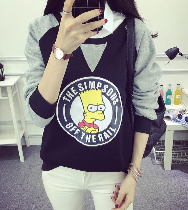 เสื้อแฟชั่น คอกลม แขนยา บุกันหนาว ลาย The Simpsons
