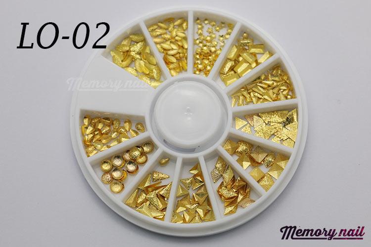LO-02 โลหะ และหมุดทรงต่างๆ สีทอง กล่องกลม 1กล่อง มี12 แบบ
