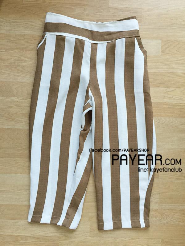 กางเกงห้าส่วน ผ้ามิริน ลายริ้ว สีน้ำตาล เอว 32-44 นิ้ว