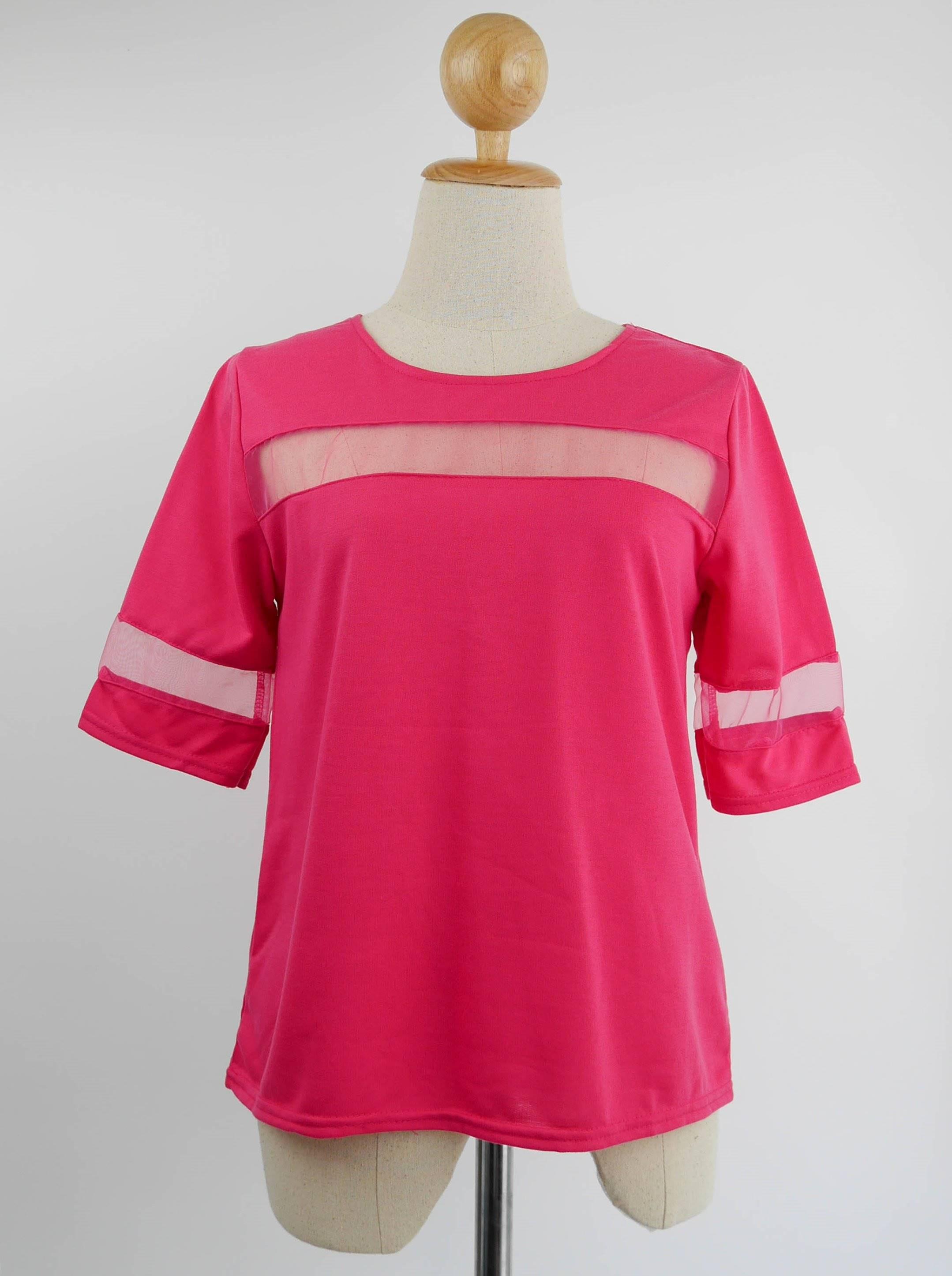 เสื้อแฟชั่น แต่งผ้าตาข่าย สีชมพู