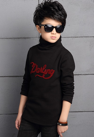 C122-48 เสื้อกันหนาวเด็กสีดำ ปักลายสวย บุขนกำมะหยี่นุ่ม สวย ใส่อุ่นสบาย size 120-160
