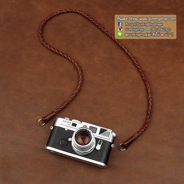 สายคล้องกล้องหนังแท้เส้นเล็ก แบบถัก Cam-in leather camera strap สีน้ำตาลเข้ม