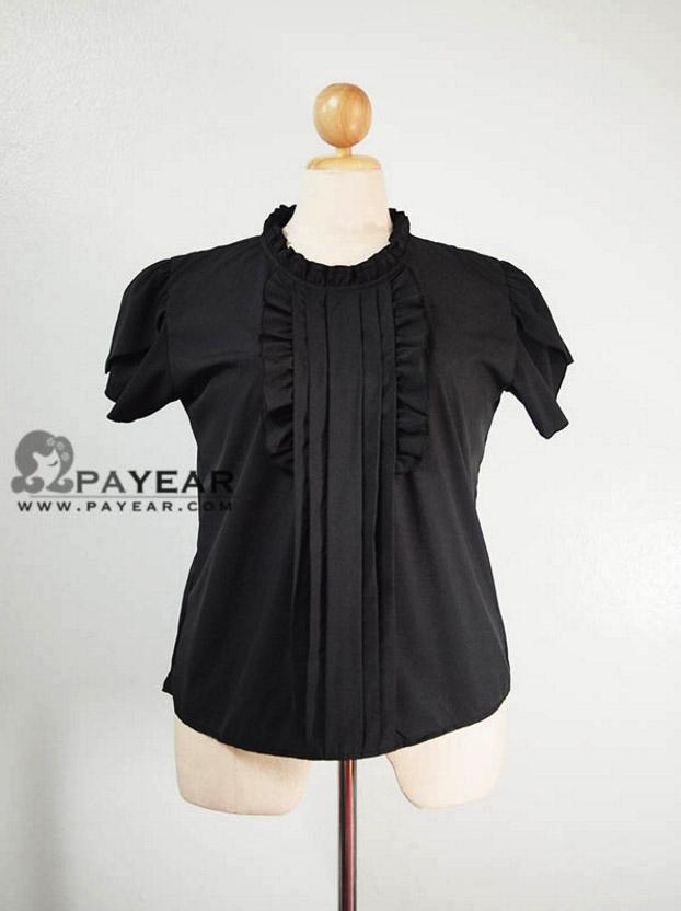 เสื้อ ผ้าไหมอิตาลี ตีเกล็ดแต่งคอระบาย สีดำ ไซส์ XL อก 46 นิ้ว