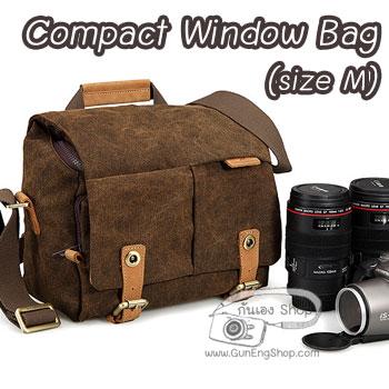 กระเป๋ากล้องหนังแท้ ผ้าแคนวาส มีหูหิ้ว Compact Window Bag Size M