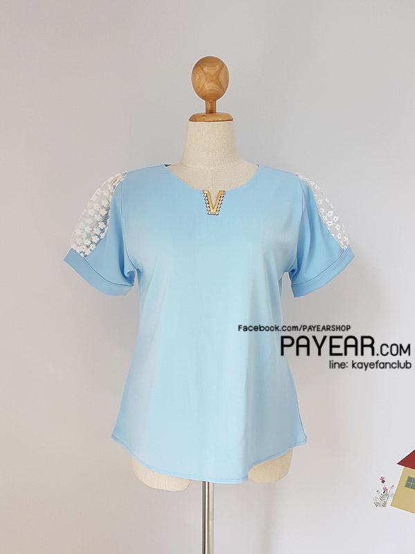 เสื้อ ผ้าฮานาโกะ แต่งแขนลูกไม้ สีฟ้า อก 42 นิ้ว