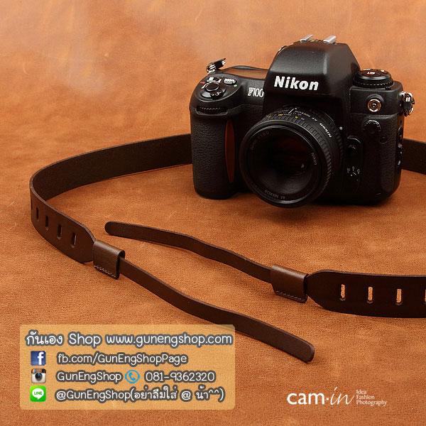 สายคล้องกล้อง cam-in หนังแท้ Splendid Genuine Leather น้ำตาลเข้ม