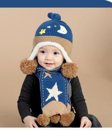 SC102-21 ชุดหมวก+ผ้าพันคอ สำหรับเด็ก 1-3 ขวบ