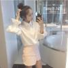 (ภาพจริง)เสื้อแฟชั่น ปกเชิ๊ต แขนยาว ปลายจั๊ม(ยางเส้นใหญ่) สีขาว