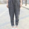 (ภาพจริง) กางเกงแฟชั่น ขายาว เอวจั๊ม ลายสก๊อต สีเทา