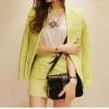 พร้อมส่ง-ชุดเซตสไตล์เกาหลี เสื้อยืด+กระโปรง สีเขียวเลม่อน Size M