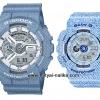 นาฬิกา คาสิโอ Casio G-Shock x Baby-G ลายยีนส์ เซ็ตคู่รัก Denim Color รุ่น GA-110DC-2A7 x BA-110DC-2A3 Pair set ของแท้ รับประกัน 1 ปี