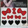 YM-K117 สติ๊กเกอร์สักแฟชั่น sticker tattoo ลายโบแดง 15.5x10.8 cm