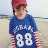 เสื้อแฟชั่นสตรีท คอกลม ต่อแขนยาว ลาย BIGBANG88 สีฟ้า