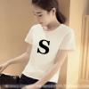 เสื้อแฟชั่น คอกลม อักษร S สีขาว