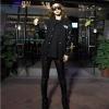 เสื้อคลุมแฟชั่น แขนยาวแต่งหนังPU ลาย VANS สีดำ
