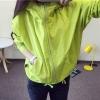 เสื้อคลุม มีฮูด แขนยาว ซิปหน้า แต่งอาร์ม การ์ตูน ผ้าร่ม สีเขียวเลม่อน