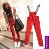 Pre-เอี๊ยมกางเกงยีนส์ ขายาวเดฟ สีแดง S/M/L