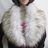 พร้อมส่ง ผ้าพันคอเฟอร์ สีขาวปลายนำ้ตาลขนยาว ( FAUX FUR ) 20x105 cm.