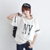 เสื้อยืดเบสบอล แขนสั้น คอกลม ลาย NY สีขาว (Import Korea)