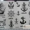 YM-K023 สติ๊กเกอร์สักแฟชั่น sticker tattoo ลายสมอเรือ15.5x10.8 cm