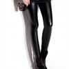 กางเกงเลกกิ้ง ผ้าหนังเทียม PU สีดำ