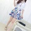 เดรส 2 ชิ้น เดรสคอกลม แขนกุด ลายดอกไม้สีฟ้า + เสื้อคลุม ปกเชิ๊ต ผ้าชีฟอง สีขาว