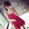 เดรสแฟชั่น ผ้าชีฟอง สายเดี่ยว แต่งระบาย สีแดง