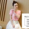 (ภาพจริง)เสื้อแฟชั่น แขนสั้นสม๊อค ผ้าชีฟอง สีชมพู