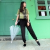 กางเกงฮาเร็ม ขายาว ขาจั๊ม เอวสม๊อค มีซับขาสั้น ผ้าชีฟอง สีดำ