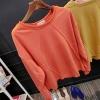 เสื้อแฟชั่น แขนยาว คอกลม สีพื้น สีส้ม