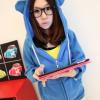 พร้อมส่ง-เสื้อกันหนาวฮู้ดหูหมี สีน้ำเงิน