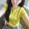 เสื้อแฟชั่น คอกลม แขนสั้น พิมพ์ลายนูน สีเหลือง