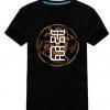 เสื้อแฟชั่น คอกลม แขนสั้น ลายอักษรจีน สีดำ สกรีนทอง