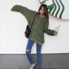 เสื้อคลุมแฟชั่น คอกลม แขนยาว ซิปหน้า กระเป๋าข้าง ลาย Why am สีเขียว