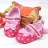 รองเท้าหัดเดิน (Prewalker) เด็กผู้หญิง สีชมพูเข้ม ลายดอกไม้ น่ารัก