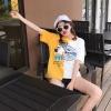 เสื้อแฟชั่น คอกลม แขนสั้น ลายเก๋ๆ ทูโทน สีเหลือง