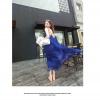 พร้อมส่ง-maxi dress เดรสสายชีฟองยาวไขว้หลัง สีน้ำเงิน
