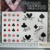 YM-K093 สติ๊กเกอร์สักแฟชั่น sticker tattoo ลายไพ่ 15.5x10.8 cm