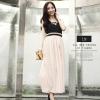 พร้อมส่ง-เดรสยาวสีชมพู เสื้อกล้ามสีดำ เดรสสไตล์เกาหลี