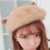 พร้อมส่ง-หมวกเบเร่ต์มีหูแมว มีขนปุยๆ สไตล์เกาหลีสุดน่ารัก สีเบจ