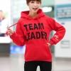 เสื้อกันหนาว แขนยาว บุกันหนาว มีฮูด กระเป๋าหน้า Team Leader สีแดง