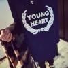 เสื้อแขนยาว บุกันหนาว ลาย young heart สีกรมท่า