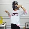 เสื้อแฟชั่น คอกลม แขนยาว ลาย HAHA เสื้อสีขาว แต่งด้วยตัวอักษร สีชมพู