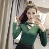 เสื้อแฟชั่น แขนยาว คอวีแต่งสายไขว้ สีเขียว