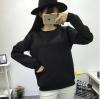 เสื้อแฟชั่น คอกลม แขนยาว ผ้าพิมพ์นูนลายตัวอักษร สีดำ