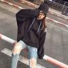 (ภาพจริง)เสื้อกันหนาวแฟชั่น มีฮูด ผูกเชือก แขนยาว ลาย ทาสแมว สีดำ