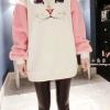 (ภาพจริง)เสื้อแฟชั่น ผ้าฝ้าย แขนยาว บุกันหนาว ผ้าขนสัตว์เทียม ลายแมว แขนสีชมพู
